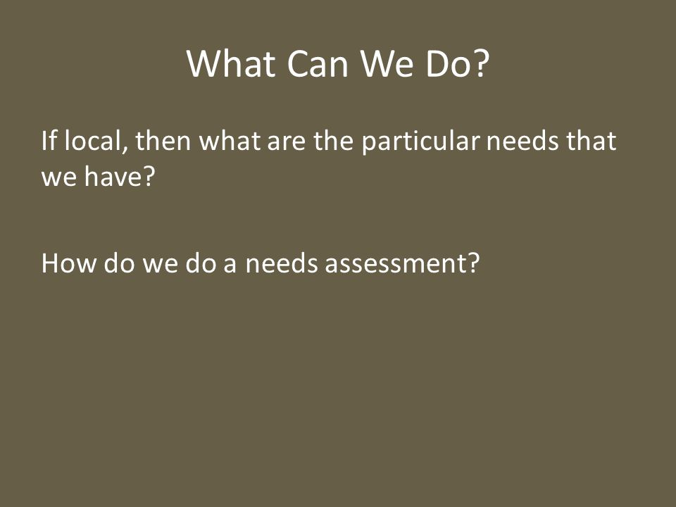 What Can We Do? If local, then what are the particular needs that we have? How do we do a needs assessment?
