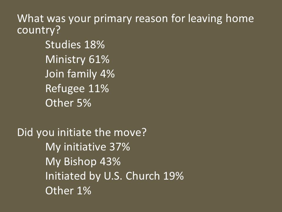 What was your primary reason for leaving home country.