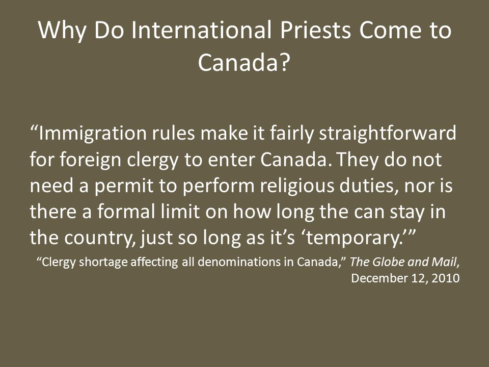 Why Do International Priests Come to Canada.