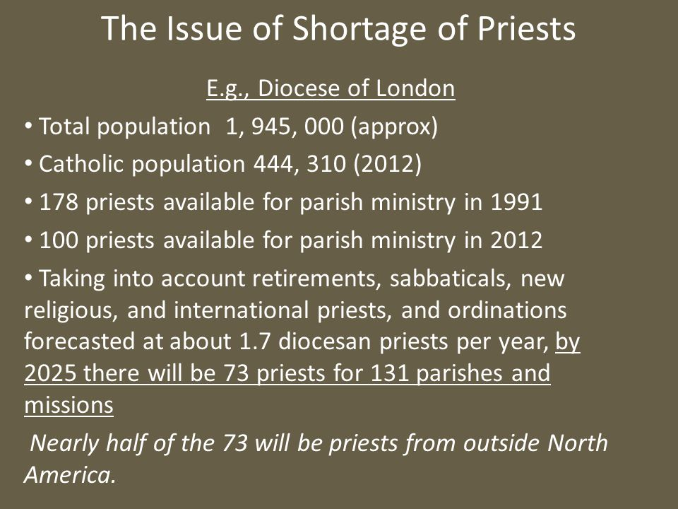 The Issue of Shortage of Priests E.g., Diocese of London Total population 1, 945, 000 (approx) Catholic population 444, 310 (2012) 178 priests available for parish ministry in 1991 100 priests available for parish ministry in 2012 Taking into account retirements, sabbaticals, new religious, and international priests, and ordinations forecasted at about 1.7 diocesan priests per year, by 2025 there will be 73 priests for 131 parishes and missions Nearly half of the 73 will be priests from outside North America.
