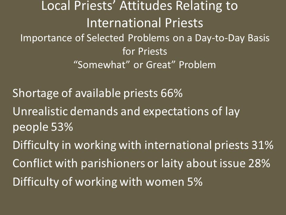 """Local Priests' Attitudes Relating to International Priests Importance of Selected Problems on a Day-to-Day Basis for Priests """"Somewhat"""" or Great"""" Prob"""