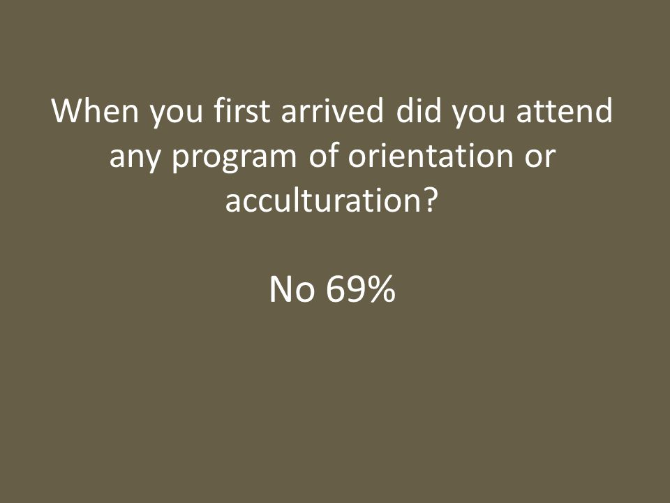 When you first arrived did you attend any program of orientation or acculturation? No 69%