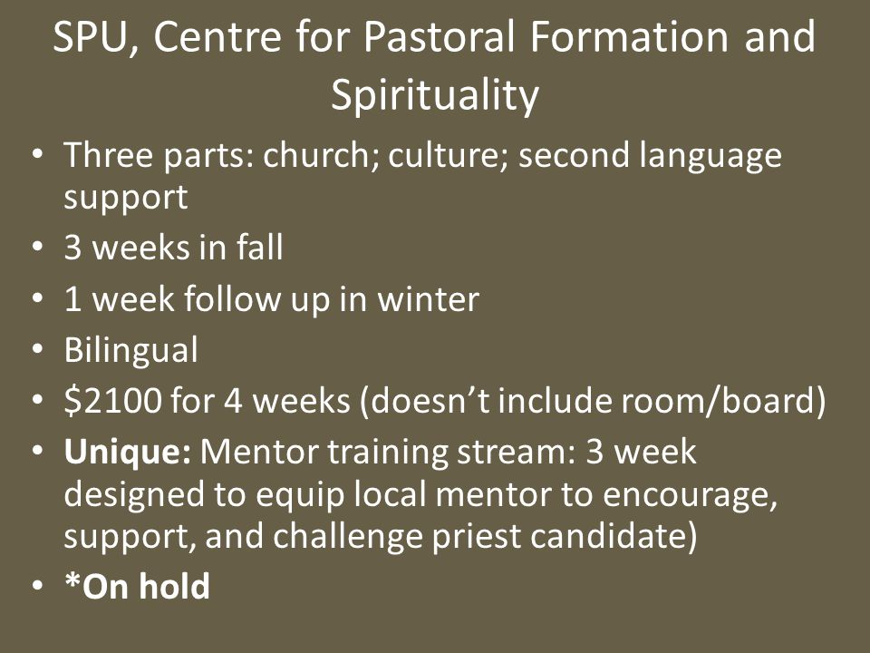 SPU, Centre for Pastoral Formation and Spirituality Three parts: church; culture; second language support 3 weeks in fall 1 week follow up in winter B