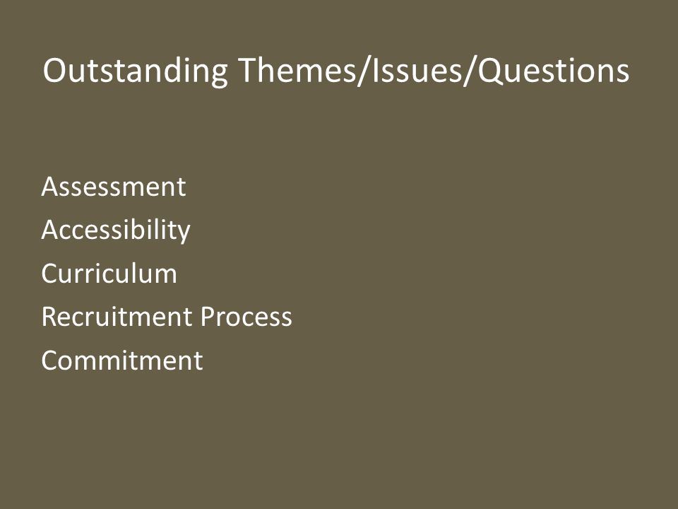 Outstanding Themes/Issues/Questions Assessment Accessibility Curriculum Recruitment Process Commitment