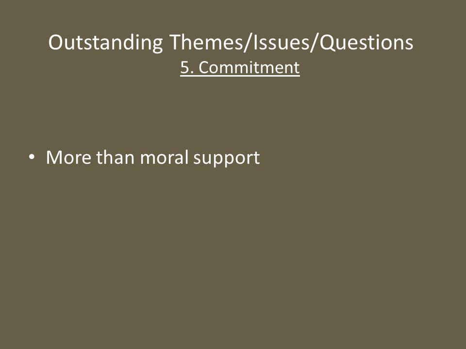 Outstanding Themes/Issues/Questions 5. Commitment More than moral support