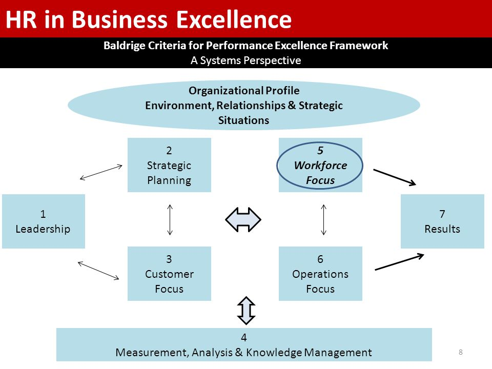 8 1 Leadership 2 Strategic Planning 3 Customer Focus 7 Results 5 Workforce Focus 6 Operations Focus HR in Business Excellence Baldrige Criteria for Performance Excellence Framework A Systems Perspective 4 Measurement, Analysis & Knowledge Management Organizational Profile Environment, Relationships & Strategic Situations