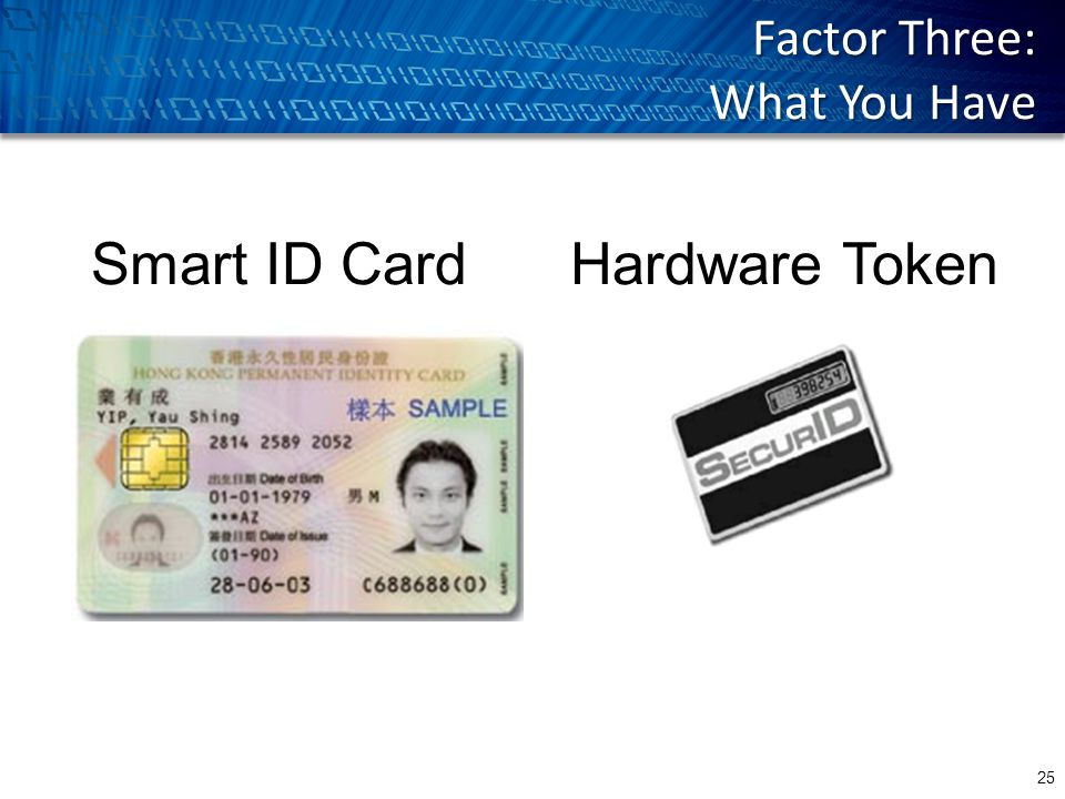 Factor Three: What You Have Hardware TokenSmart ID Card 25