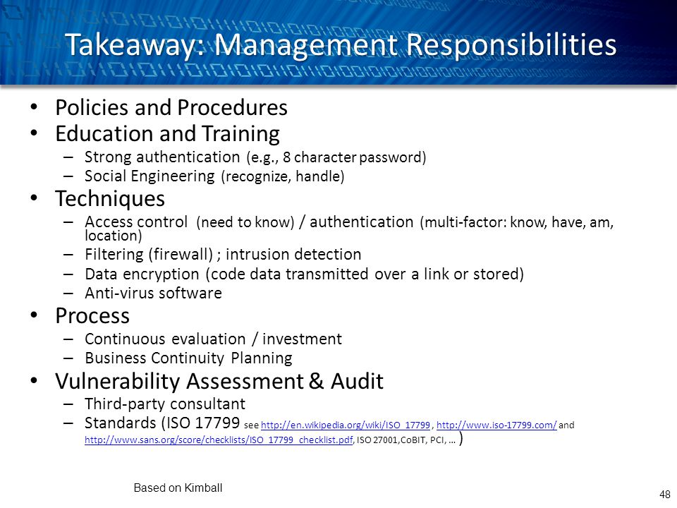 Takeaway: Management Responsibilities Policies and Procedures Education and Training – Strong authentication (e.g., 8 character password) – Social Eng