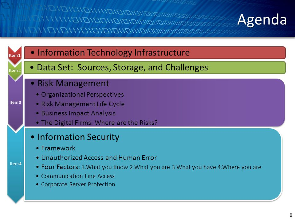Agenda 8 Item 1 Information Technology Infrastructure Item 2 Data Set: Sources, Storage, and Challenges Item 3 Risk Management Organizational Perspectives Risk Management Life Cycle Business Impact Analysis The Digital Firms: Where are the Risks.