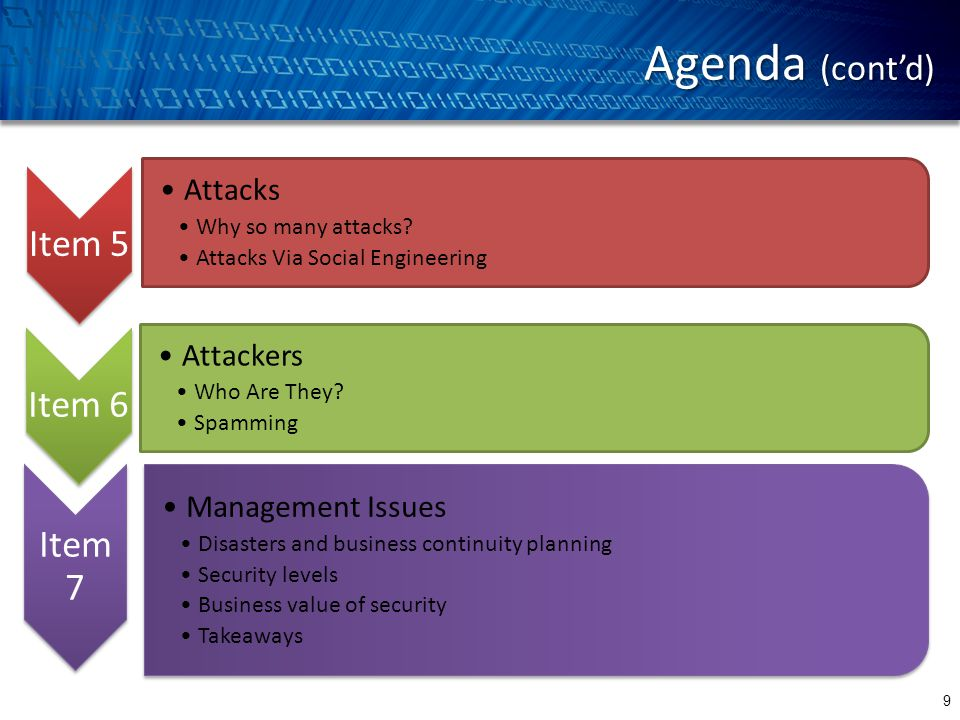Agenda (cont'd) 9 Item 5 Attacks Why so many attacks.