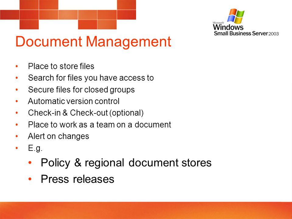Calendars and Meetings SharePoint Calendars are for groups or resources (not personal) Calendars can be viewed on web or in Outlook Meetings can have a workplace Actions, attendees, agenda, documents Alerts on changes E.g.