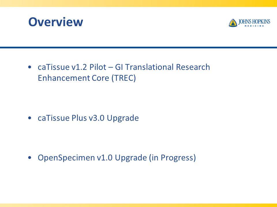 Overview caTissue v1.2 Pilot – GI Translational Research Enhancement Core (TREC) caTissue Plus v3.0 Upgrade OpenSpecimen v1.0 Upgrade (in Progress)