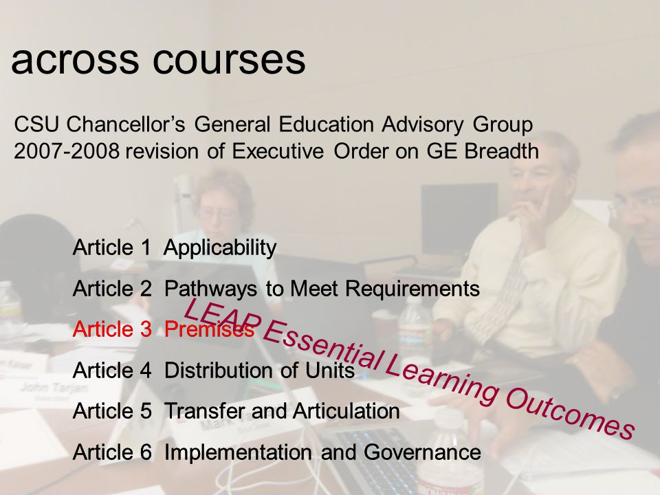 CSU Chancellor's General Education Advisory Group 2007-2008 revision of Executive Order on GE Breadth Article 1 Applicability Article 2 Pathways to Me