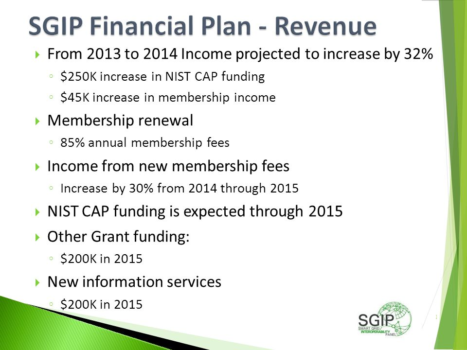  From 2013 to 2014 Income projected to increase by 32% ◦ $250K increase in NIST CAP funding ◦ $45K increase in membership income  Membership renewal ◦ 85% annual membership fees  Income from new membership fees ◦ Increase by 30% from 2014 through 2015  NIST CAP funding is expected through 2015  Other Grant funding: ◦ $200K in 2015  New information services ◦ $200K in 2015