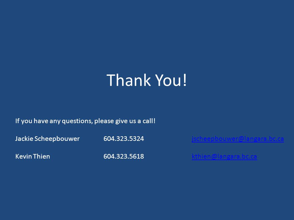 Thank You. If you have any questions, please give us a call.