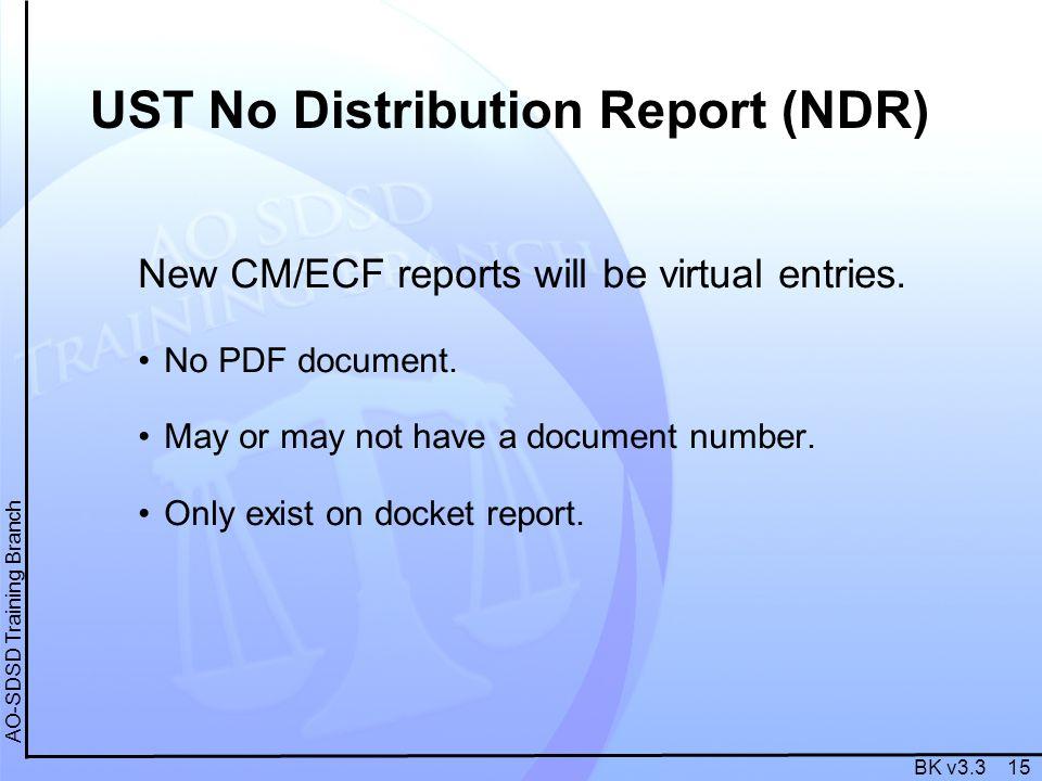 BK v3.3 15 AO-SDSD Training Branch New CM/ECF reports will be virtual entries.