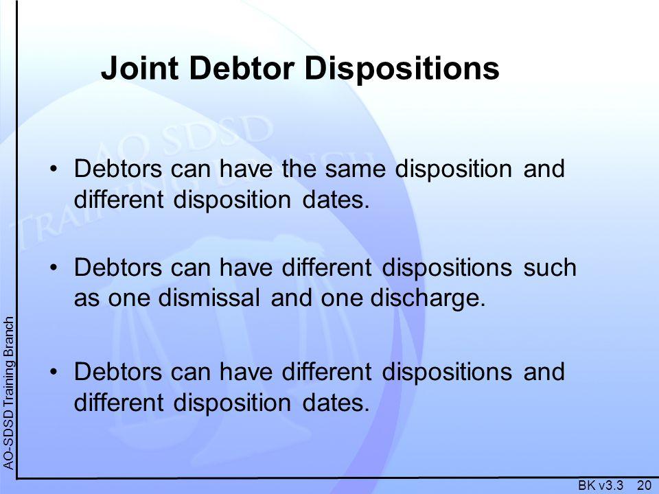 BK v3.3 20 AO-SDSD Training Branch Joint Debtor Dispositions Debtors can have the same disposition and different disposition dates. Debtors can have d