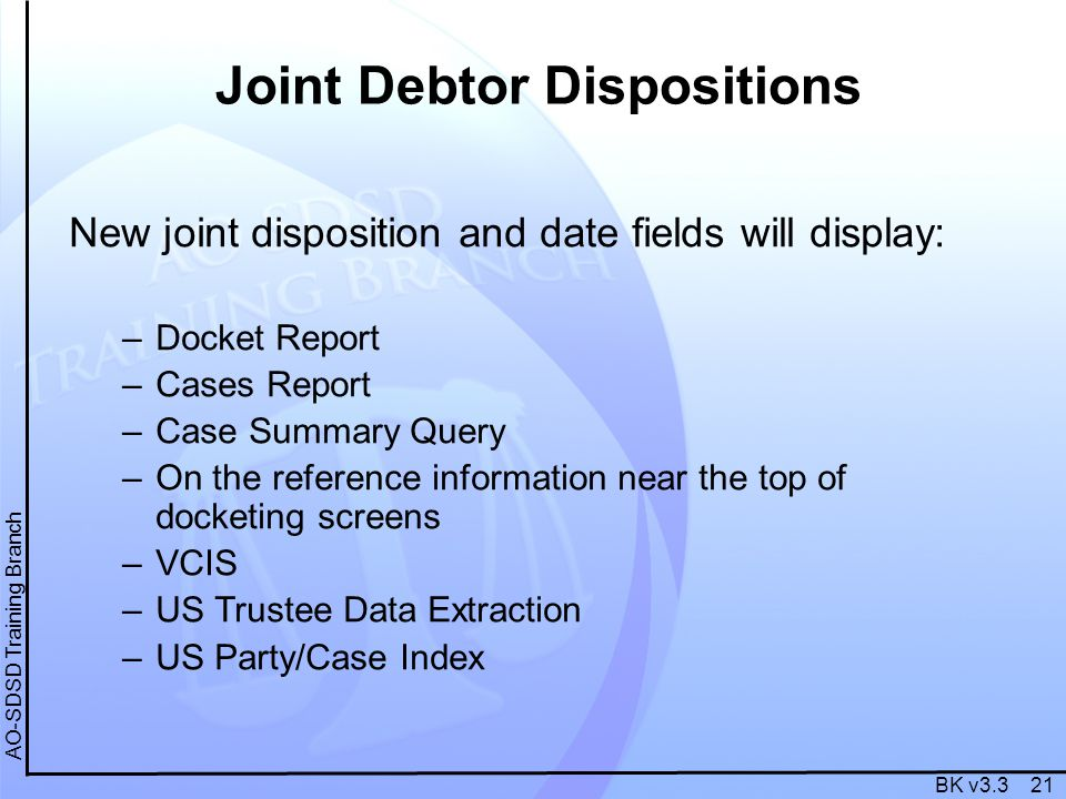 BK v3.3 21 AO-SDSD Training Branch Joint Debtor Dispositions New joint disposition and date fields will display: –Docket Report –Cases Report –Case Summary Query –On the reference information near the top of docketing screens –VCIS –US Trustee Data Extraction –US Party/Case Index