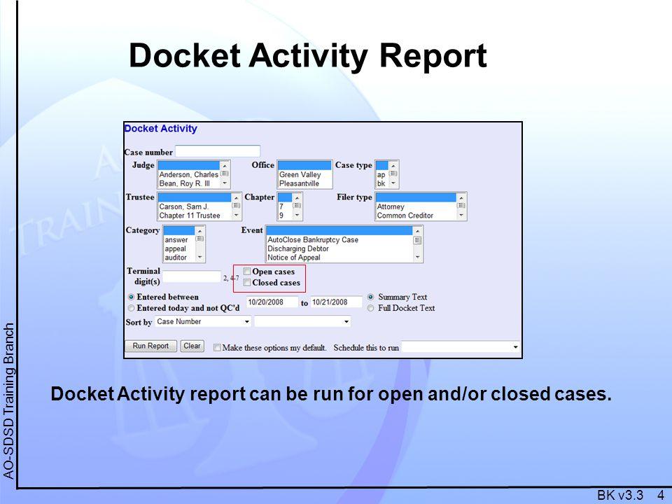 BK v3.3 4 AO-SDSD Training Branch Docket Activity Report Docket Activity report can be run for open and/or closed cases.