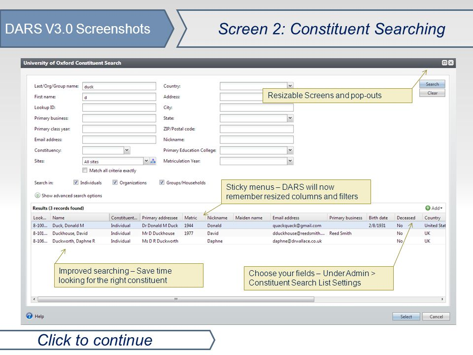 DARS V3.0 Screenshots Screen 3: Constituent Records Click to continue New - Social Media Details Community Member renamed to Online Information Name Formats moved to Personal Info tab Expandable Menus