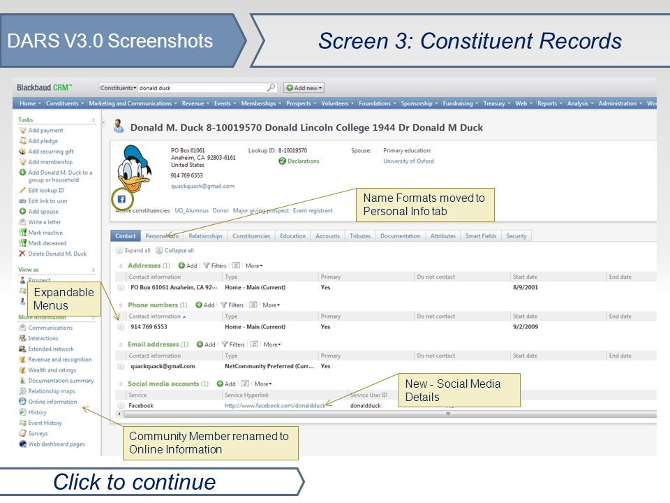 DARS V3.0 Screenshots Screen 4a: Query Area Click to continue No long lists - Queries load quicker Make copies of templates and queries to edit Create exports directly from query