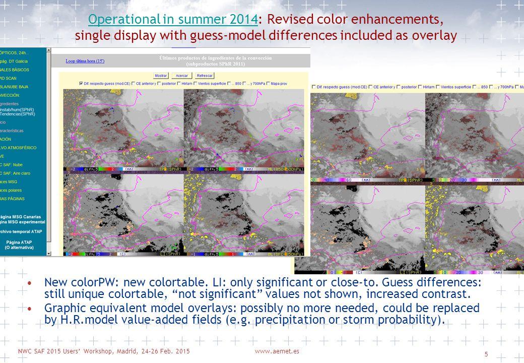 NWC SAF 2015 Users' Workshop, Madrid, 24-26 Feb. 2015www.aemet.es 5 Operational in summer 2014Operational in summer 2014: Revised color enhancements,
