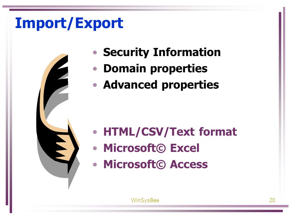 WinSysBee20 Import/Export Security Information Domain properties Advanced properties HTML/CSV/Text format Microsoft© Excel Microsoft© Access