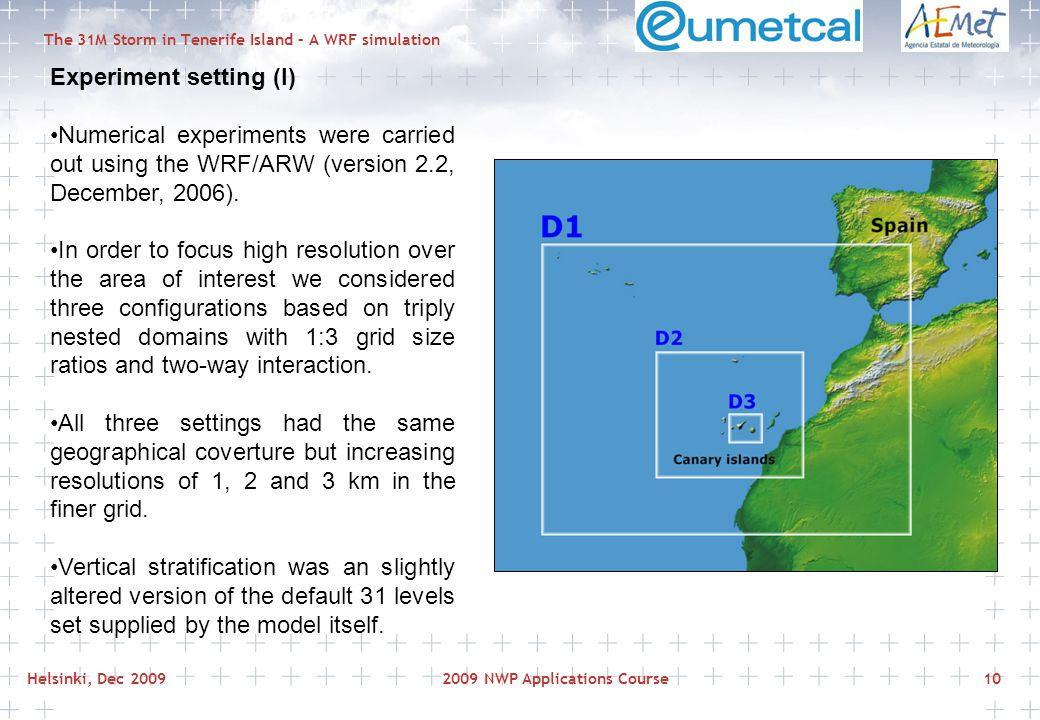 Helsinki, Dec 20092009 NWP Applications Course10 The 31M Storm in Tenerife Island – A WRF simulation Experiment setting (I) Numerical experiments were carried out using the WRF/ARW (version 2.2, December, 2006).