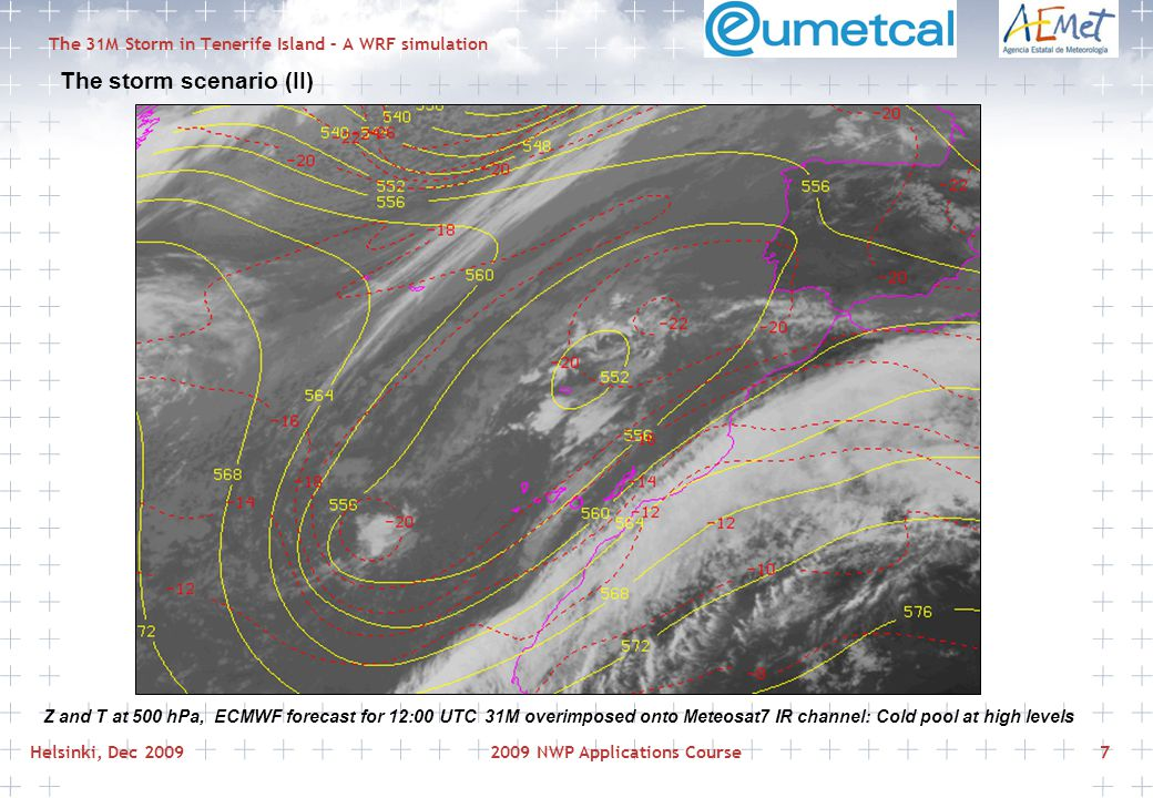 Helsinki, Dec 20092009 NWP Applications Course7 The 31M Storm in Tenerife Island – A WRF simulation The storm scenario (II) Z and T at 500 hPa, ECMWF