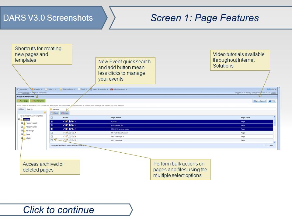 DARS V3.0 Screenshots Screen 2: BBIS Quick Links Click to continue New options in the 'right click' context menu make it quicker to perform a range of tasks such as accessing Formatted Text, Template parts and more