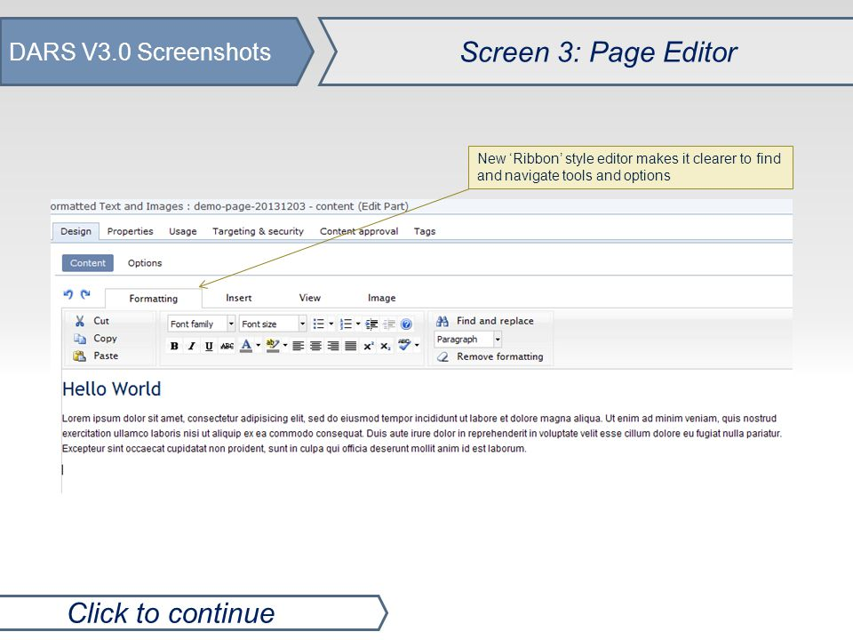 DARS V3.0 Screenshots Screen 4: Page/File Properties Click to continue Easier to organise and manage new pages by using folders, bulk move options and copy pages features.