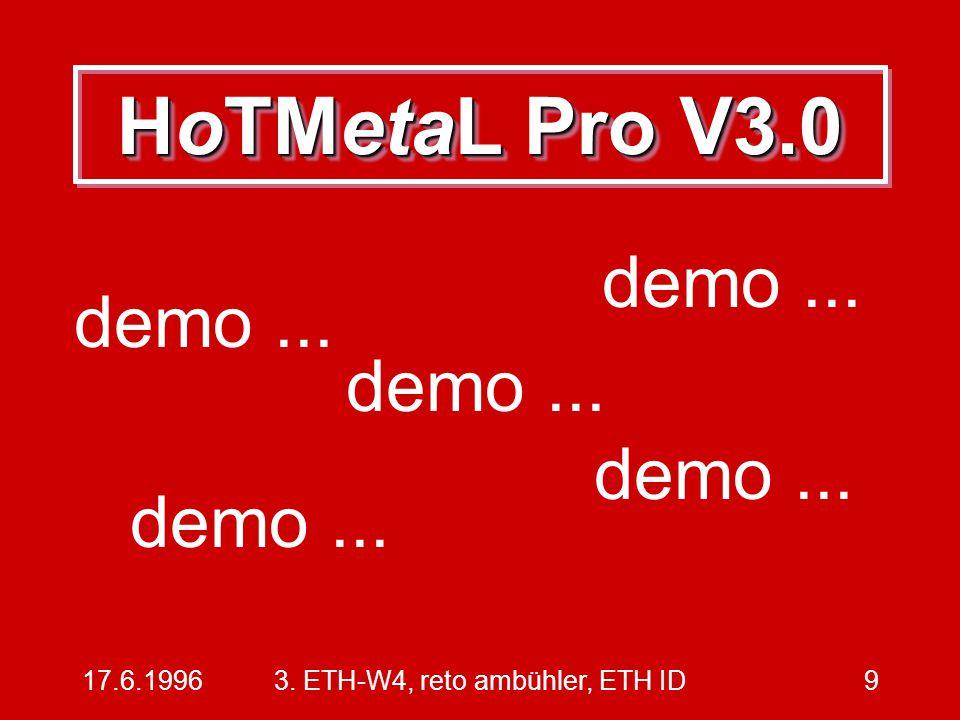 17.6.19963. ETH-W4, reto ambühler, ETH ID9 HoTMetaL Pro V3.0 demo...