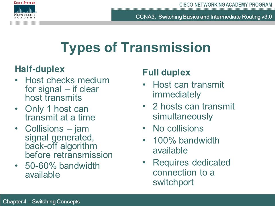 CCNA3: Switching Basics and Intermediate Routing v3.0 CISCO NETWORKING ACADEMY PROGRAM Chapter 4 – Switching Concepts Types of Transmission Half-duplex Host checks medium for signal – if clear host transmits Only 1 host can transmit at a time Collisions – jam signal generated, back-off algorithm before retransmission 50-60% bandwidth available Full duplex Host can transmit immediately 2 hosts can transmit simultaneously No collisions 100% bandwidth available Requires dedicated connection to a switchport