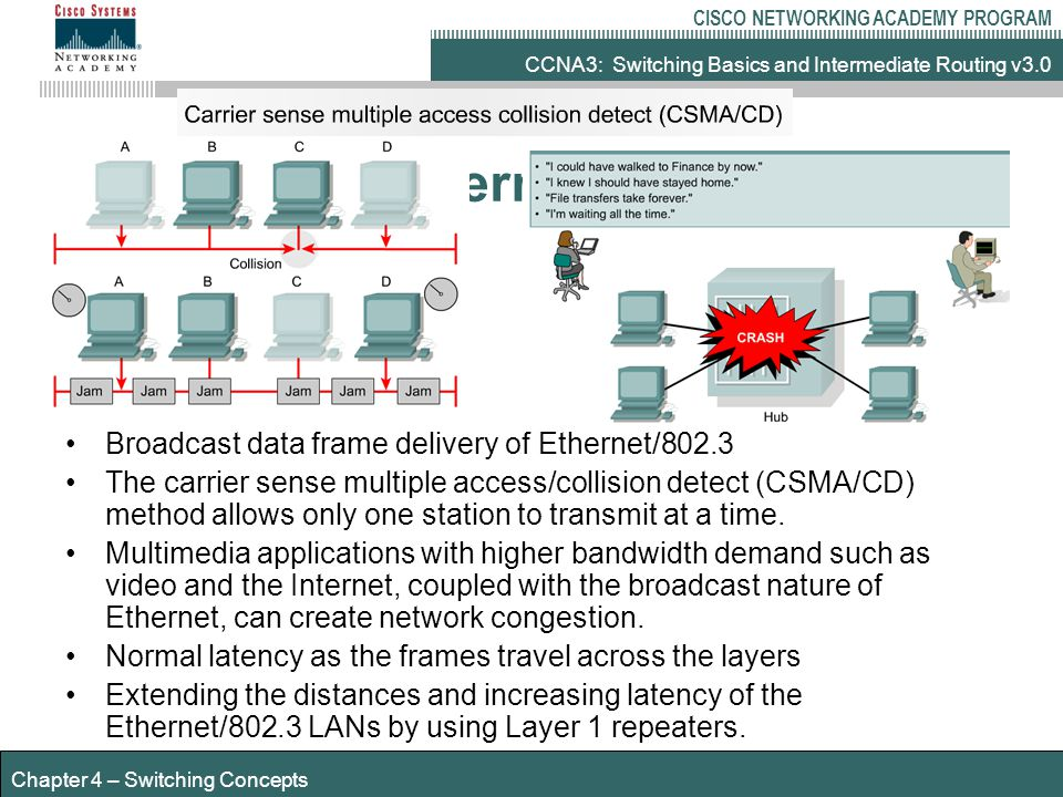 CCNA3: Switching Basics and Intermediate Routing v3.0 CISCO NETWORKING ACADEMY PROGRAM Chapter 4 – Switching Concepts Transmission Time & Latency Bit time – time taken to recognise 1 bit Minimum frame size - 64 bytes – 512 bits Maximum frame size – 1518 bytes – 12,144 bits Transmission time is always 512 bit times 10Mbps – 64 byte frame - 51,200 ns (100ns bit time) 100Mbps – 64 byte frame 5,120 ns (10 ns bit time) 1000Mbps – 64 byte frame – 512 ns (1ns bit time) Times above do not include Time taken to propagate signal along medium Delays introduced by hubs/switches/routers/NICs etc