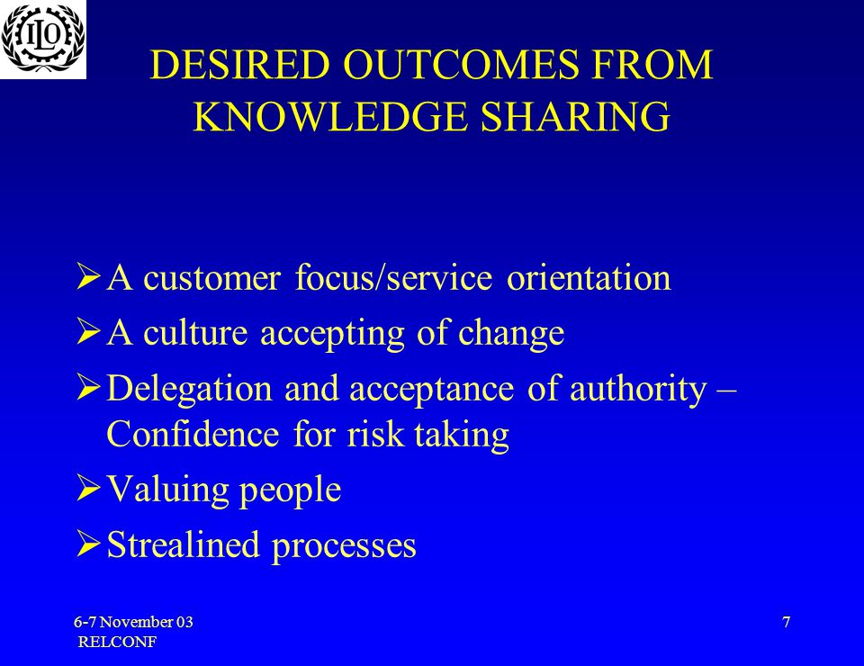 6-7 November 03 RELCONF 7 DESIRED OUTCOMES FROM KNOWLEDGE SHARING  A customer focus/service orientation  A culture accepting of change  Delegation and acceptance of authority – Confidence for risk taking  Valuing people  Strealined processes
