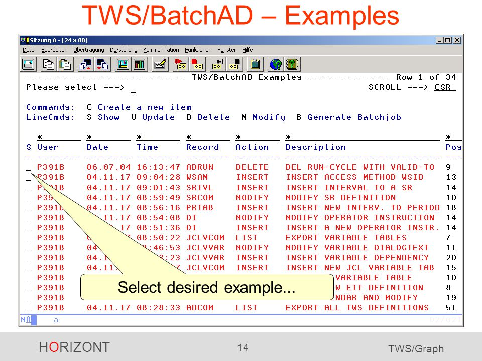 HORIZONT 14 TWS/Graph TWS/BatchAD – Examples Select desired example...