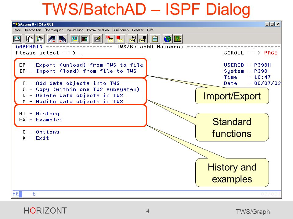 HORIZONT 4 TWS/Graph TWS/BatchAD – ISPF Dialog Import/Export Standard functions History and examples
