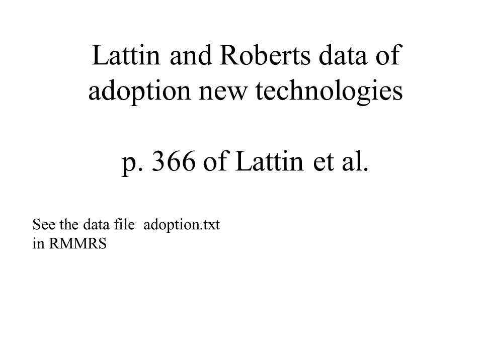 Lattin and Roberts data of adoption new technologies p. 366 of Lattin et al. See the data file adoption.txt in RMMRS