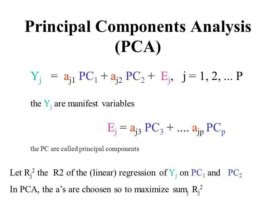 Principal Components Analysis (PCA) Y j = a j1 PC 1 + a j2 PC 2 + E j, j = 1, 2,... P the Y j are manifest variables E j = a j3 PC 3 +.... a jp PC p t