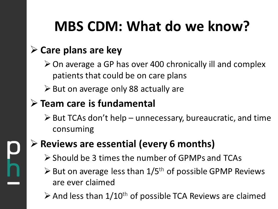 MBS CDM: What do we know?  Care plans are key  On average a GP has over 400 chronically ill and complex patients that could be on care plans  But o
