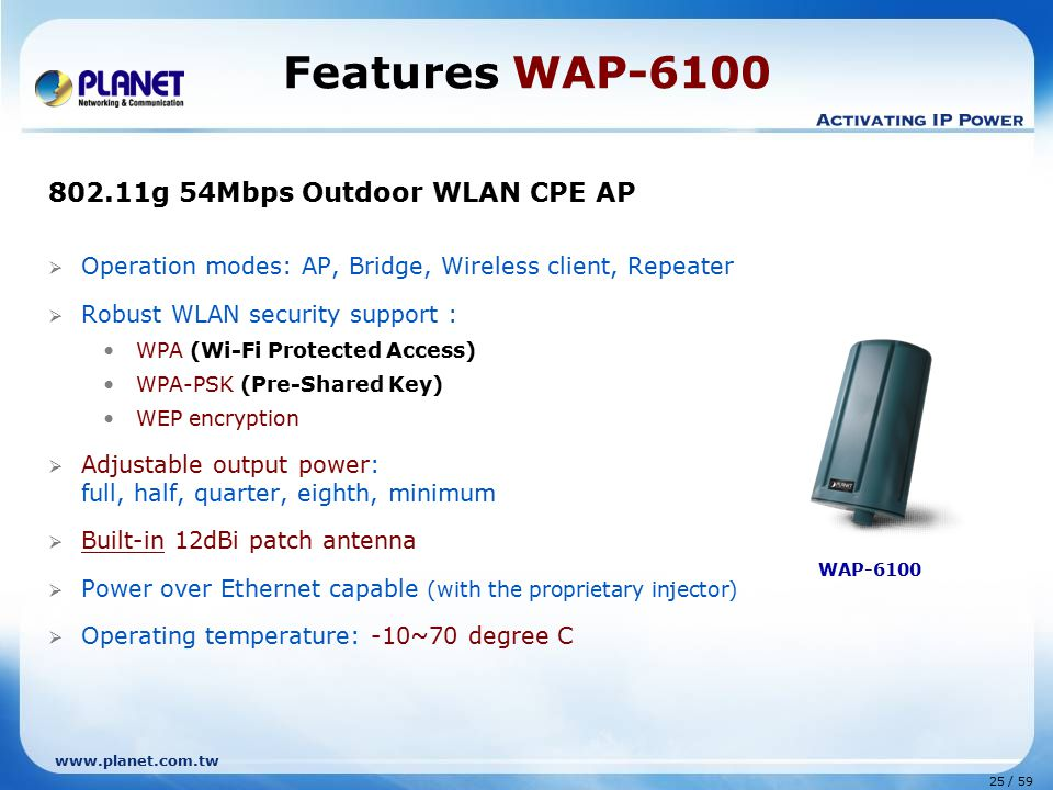 www.planet.com.tw 25 / 59  Operation modes: AP, Bridge, Wireless client, Repeater  Robust WLAN security support : WPA (Wi-Fi Protected Access) WPA-PSK (Pre-Shared Key) WEP encryption  Adjustable output power: full, half, quarter, eighth, minimum  Built-in 12dBi patch antenna  Power over Ethernet capable (with the proprietary injector)  Operating temperature: -10~70 degree C Features WAP-6100 WAP-6100 802.11g 54Mbps Outdoor WLAN CPE AP