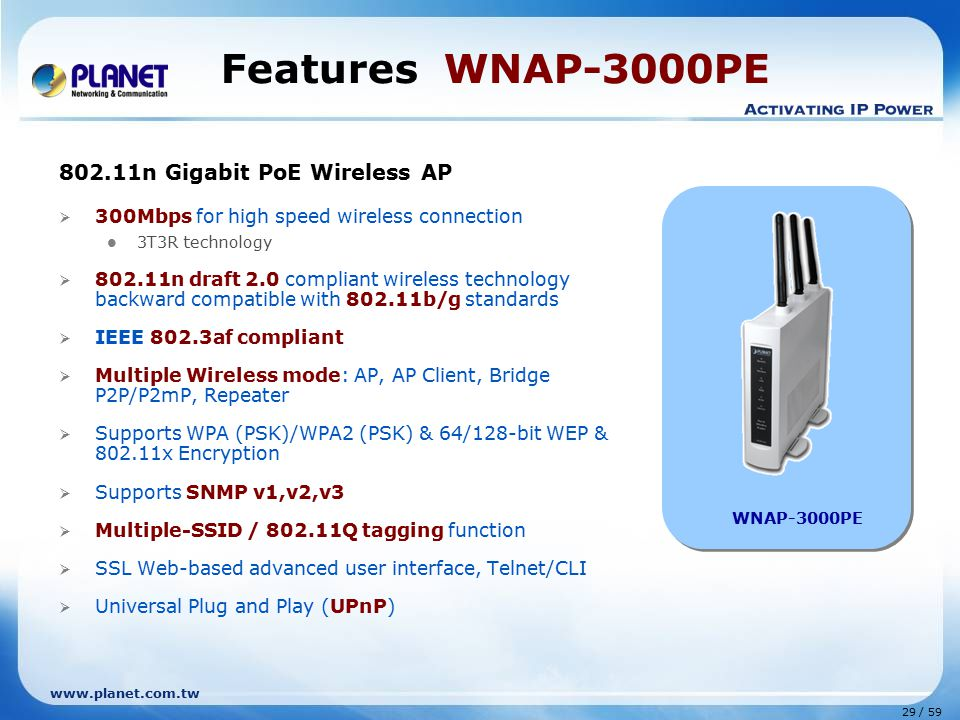 www.planet.com.tw 29 / 59 Features WNAP-3000PE 802.11n Gigabit PoE Wireless AP  300Mbps for high speed wireless connection 3T3R technology  802.11n draft 2.0 compliant wireless technology backward compatible with 802.11b/g standards  IEEE 802.3af compliant  Multiple Wireless mode: AP, AP Client, Bridge P2P/P2mP, Repeater  Supports WPA (PSK)/WPA2 (PSK) & 64/128-bit WEP & 802.11x Encryption  Supports SNMP v1,v2,v3  Multiple-SSID / 802.11Q tagging function  SSL Web-based advanced user interface, Telnet/CLI  Universal Plug and Play (UPnP) WNAP-3000PE