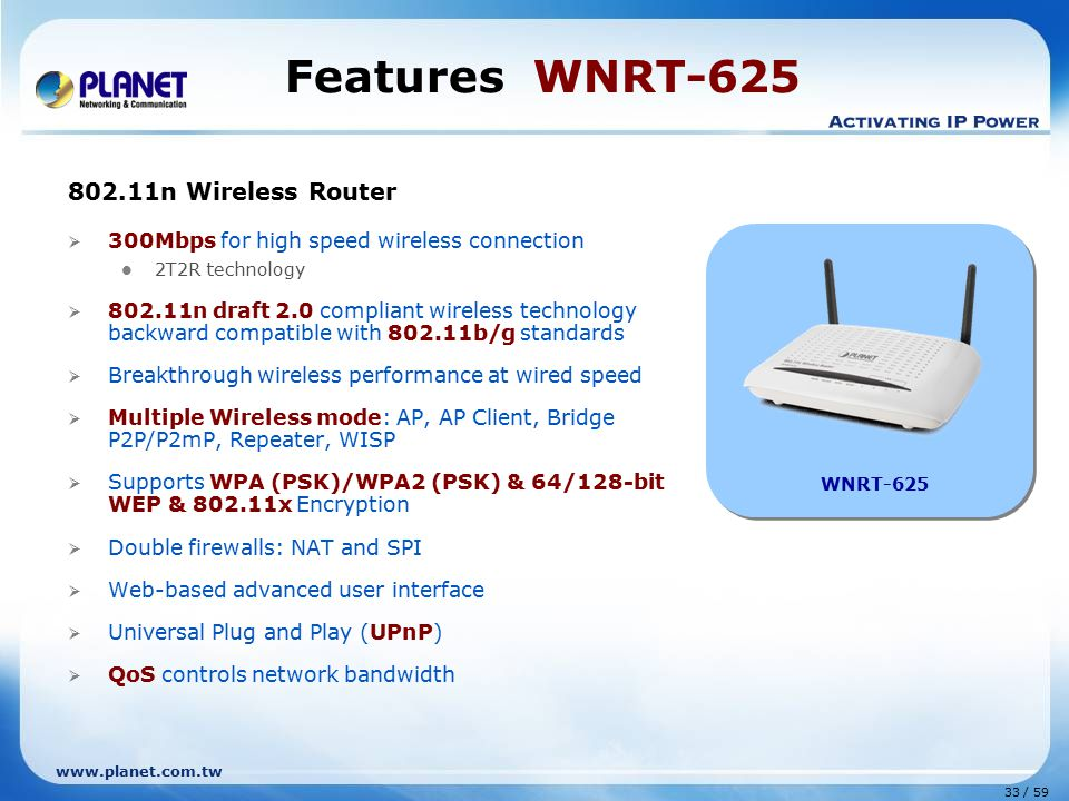 www.planet.com.tw 33 / 59 Features WNRT-625 802.11n Wireless Router  300Mbps for high speed wireless connection 2T2R technology  802.11n draft 2.0 compliant wireless technology backward compatible with 802.11b/g standards  Breakthrough wireless performance at wired speed  Multiple Wireless mode: AP, AP Client, Bridge P2P/P2mP, Repeater, WISP  Supports WPA (PSK)/WPA2 (PSK) & 64/128-bit WEP & 802.11x Encryption  Double firewalls: NAT and SPI  Web-based advanced user interface  Universal Plug and Play (UPnP)  QoS controls network bandwidth WNRT-625