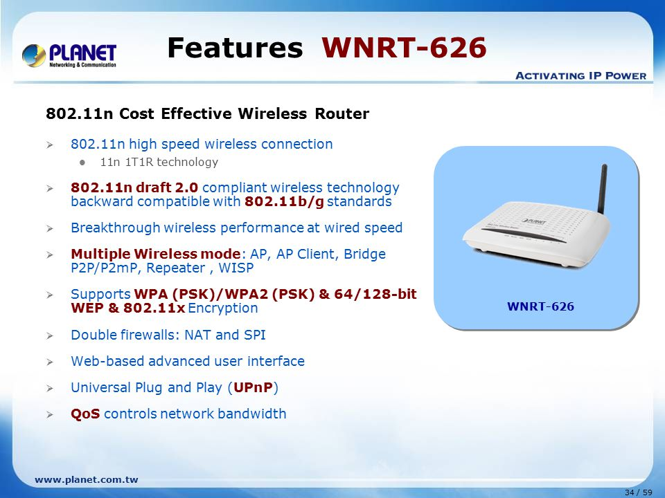 www.planet.com.tw 34 / 59 Features WNRT-626 802.11n Cost Effective Wireless Router  802.11n high speed wireless connection 11n 1T1R technology  802.11n draft 2.0 compliant wireless technology backward compatible with 802.11b/g standards  Breakthrough wireless performance at wired speed  Multiple Wireless mode: AP, AP Client, Bridge P2P/P2mP, Repeater, WISP  Supports WPA (PSK)/WPA2 (PSK) & 64/128-bit WEP & 802.11x Encryption  Double firewalls: NAT and SPI  Web-based advanced user interface  Universal Plug and Play (UPnP)  QoS controls network bandwidth WNRT-626