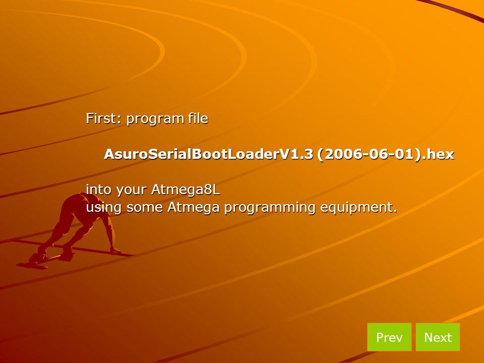 First: program file AsuroSerialBootLoaderV1.3 (2006-06-01).hex into your Atmega8L using some Atmega programming equipment. NextPrev
