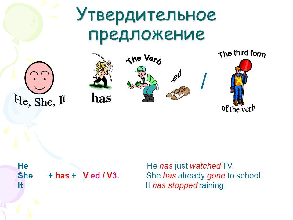 Утвердительное предложение He He has just watched TV. She + has + V ed / V3. She has already gone to school. It It has stopped raining. /