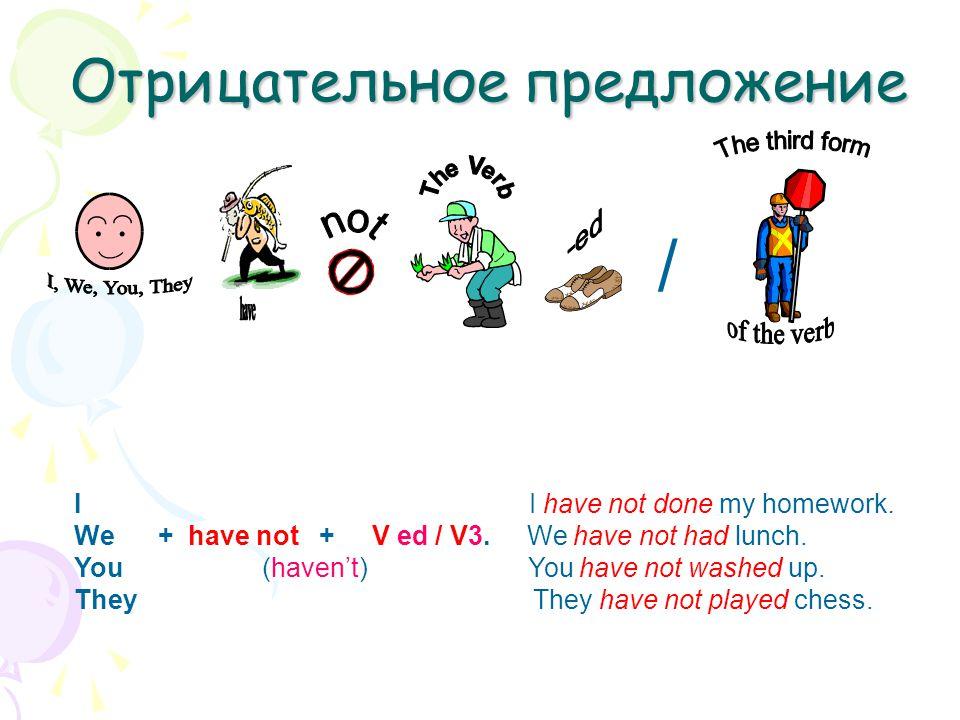 Отрицательное предложение I I have not done my homework. We + have not + V ed / V3. We have not had lunch. You (haven't) You have not washed up. They