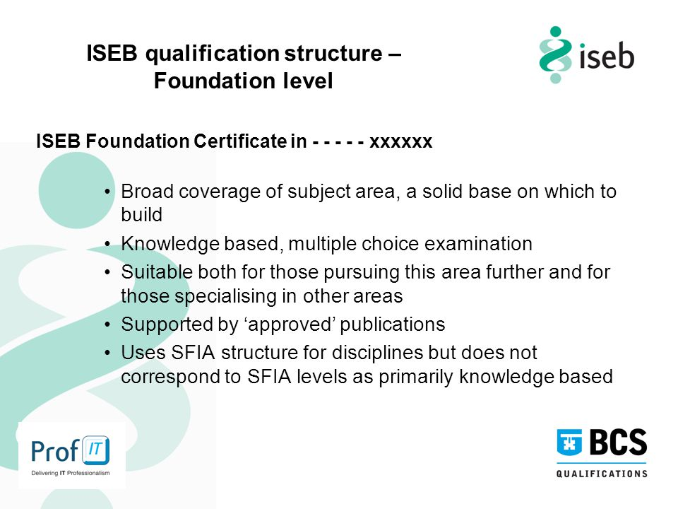 ISEB qualification structure – Foundation level ISEB Foundation Certificate in - - - - - xxxxxx Broad coverage of subject area, a solid base on which to build Knowledge based, multiple choice examination Suitable both for those pursuing this area further and for those specialising in other areas Supported by 'approved' publications Uses SFIA structure for disciplines but does not correspond to SFIA levels as primarily knowledge based