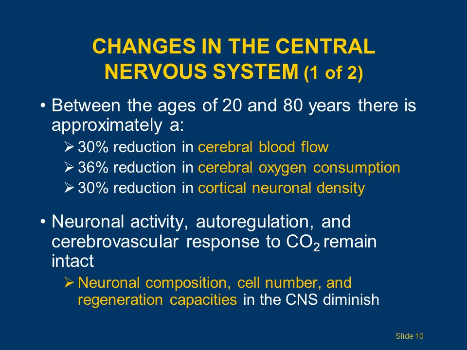 CHANGES IN THE CENTRAL NERVOUS SYSTEM (1 of 2) Between the ages of 20 and 80 years there is approximately a:  30% reduction in cerebral blood flow  36% reduction in cerebral oxygen consumption  30% reduction in cortical neuronal density Neuronal activity, autoregulation, and cerebrovascular response to CO 2 remain intact  Neuronal composition, cell number, and regeneration capacities in the CNS diminish Slide 10