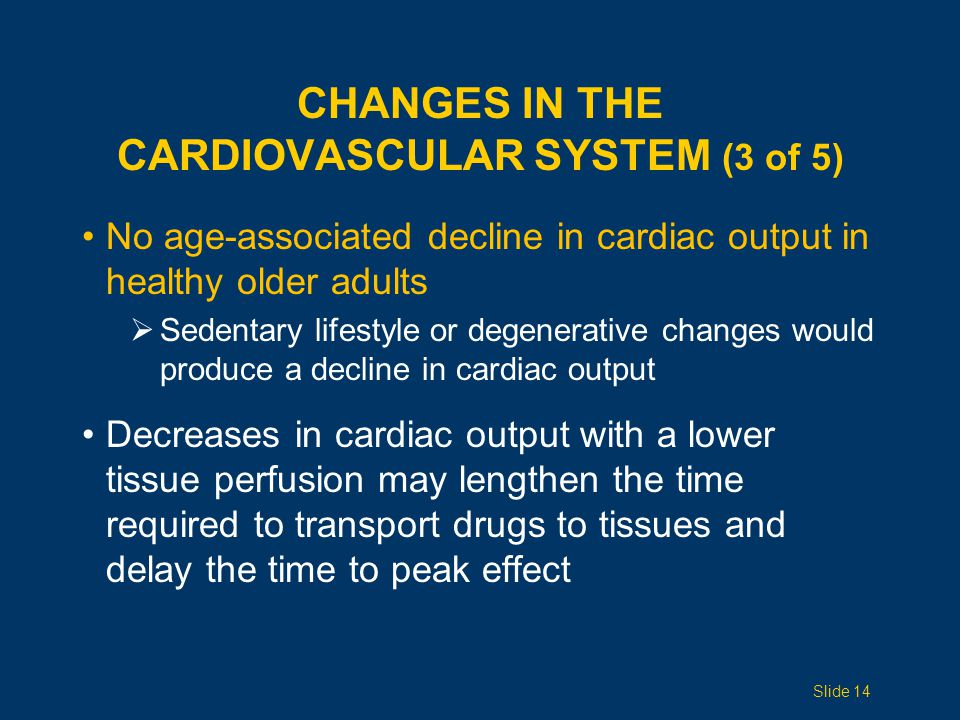 CHANGES IN THE CARDIOVASCULAR SYSTEM (3 of 5) No age-associated decline in cardiac output in healthy older adults  Sedentary lifestyle or degenerative changes would produce a decline in cardiac output Decreases in cardiac output with a lower tissue perfusion may lengthen the time required to transport drugs to tissues and delay the time to peak effect Slide 14